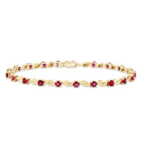 14k Yellow Gold African Ruby Round Bracelet. Gem Wt- 3.1ct