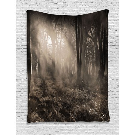 Gothic Decor Wall Hanging Tapestry, Photo Of Dark Forest Scenery With Sunbeams And Fog Vintage Nostalgic Colors Gothic Fantasy Art, Bedroom Living Room Dorm Accessories, By - Gothic Mansion Wall Decor
