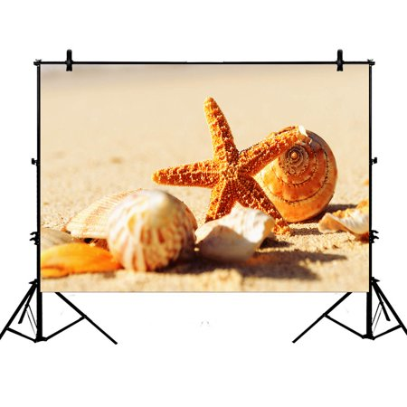 YKCG 7x5ft Tropical Island Sandy Beach Seashell Starfish Photography Backdrops Polyester Photography Props Studio Photo Booth Props