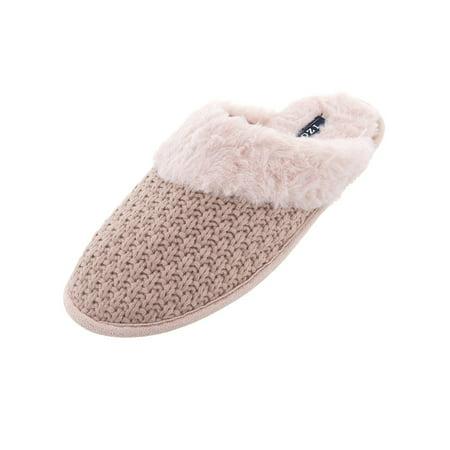 1beae9697d54 IZOD - IZOD Womens Pink Knit Scuff Slippers - Walmart.com