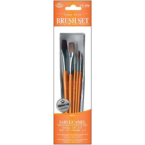 Royal Brush Brush Set Value Pack, Sable/Camel, 5-Pack, Stroke/Round/Flat