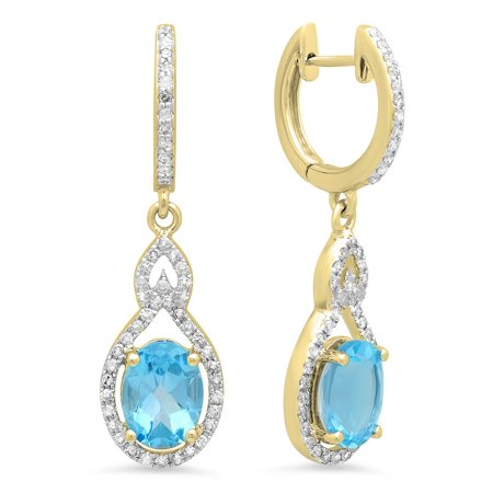 Dazzlingrock Collection 14K 8X6 MM Each Oval Blue Topaz & Round White Diamond Ladies Dangling Drop Earrings, Yellow Gold 4in 14k White Gold Hoop