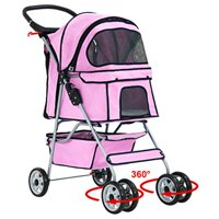 BestPet4 Wheels Pet Stroller, Black