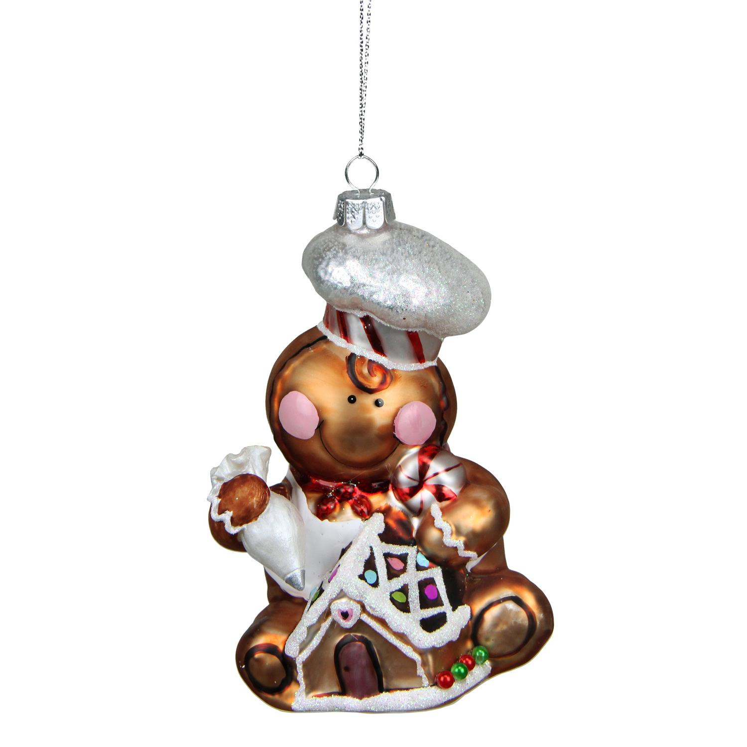 "4.75"" Gingerbread Kisses Glass Chef Decorative Christmas Ornament"
