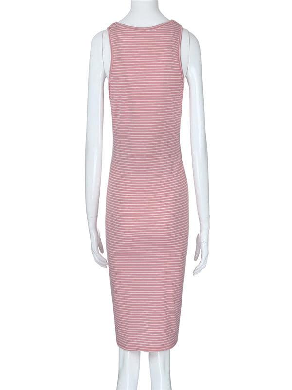 39742882f0c1c Unbrand - Womens Maternity Casual O-Neck Striped Sleeveless Pregnancy  Clothes Dress - Walmart.com