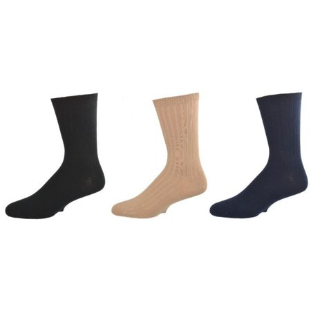 Big Boys & Girls (Unisex) Classic Dress Uniform Ribbed 3 Pair Pack Crew Socks K263