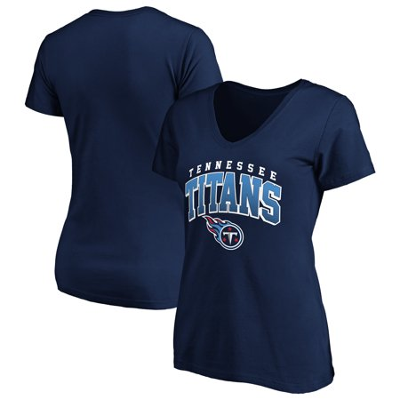 Women's Fanatics Branded Navy Tennessee Titans Faded Arch V-Neck T-Shirt Titan L/s Shirt
