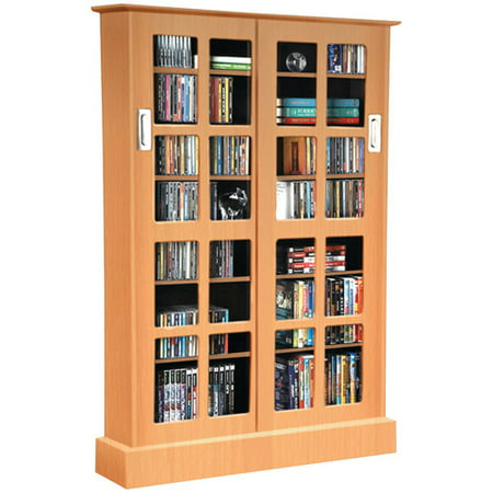 ATLANTIC 94835722 Windowpane Sliding-Glass Door Multimedia Cabinet