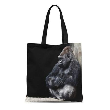 Sliver Accessories (LADDKE Canvas Tote Bag Silver Gorilla Gray Endangered Sad Baby Back Wildlife Reusable Shoulder Grocery Shopping Bags Handbag)