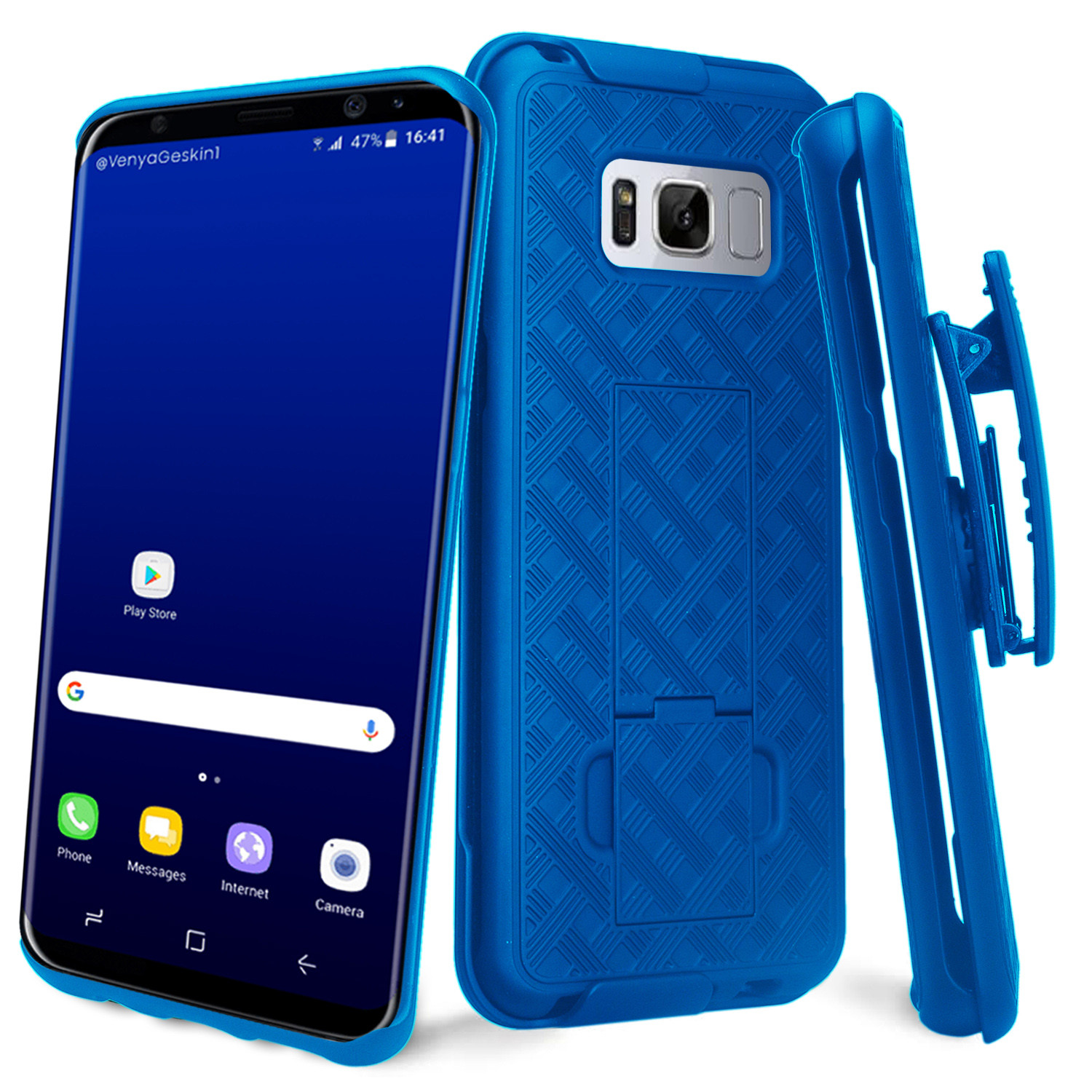 Galaxy S8 Holster Clip Case, SM-G950 Case, Slim Rugged Rotating Swivel Locking Holster Shell Combo Case Cover for Samsung Galaxy S8 - Black