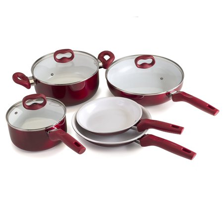 Ecolution Bliss ceramic Nonstick Cookware 8Piece Set - Stainless Steel Induction Base,