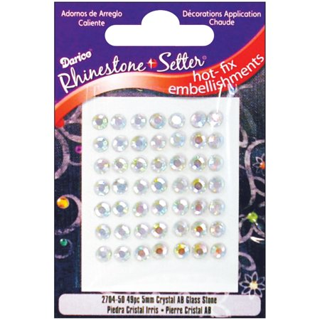 - Rhinestone Setter Hot-Fix Glass Stones 5mm 49/Pkg-Crystal AB