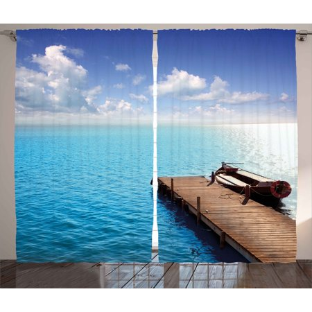 Summer Curtains 2 Panels Set, Wooden Deck on Charm Lake Holiday Europe Coast Tranquil Sea View, Window Drapes for Living Room Bedroom, 108W X 108L Inches, Violet Blue Turquoise Redwood, by