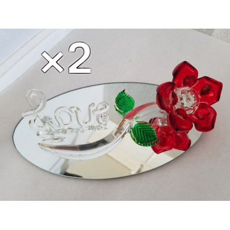 2 Elegant Long Stem Red Glass Rose & Love Crystal Flower Home Decor Heart