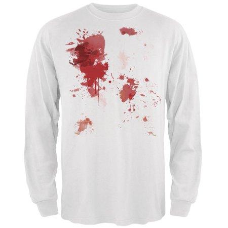 Halloween Blood Splatter White Adult Long Sleeve T-Shirt