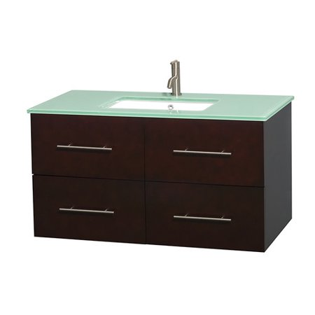Wyndham Collection Centra 42 inch Single Bathroom Vanity in Espresso, Green Glass Countertop, Undermount Square Sink, and No Mirror|Base UPC
