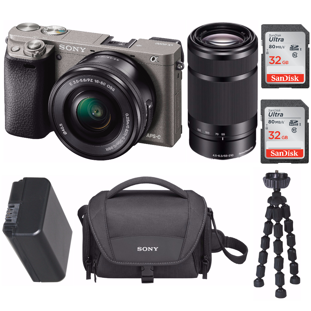 "Sony Mirrorless a6000 Digital Camera  2 Lens Kit Bundle, 3"" LCD, Graphite + 64GB"