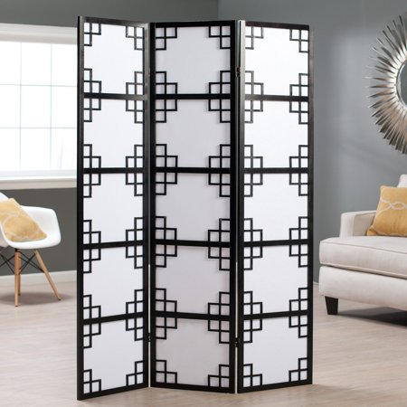 Black Omei Lattice 3-Panel Screen Room Divider