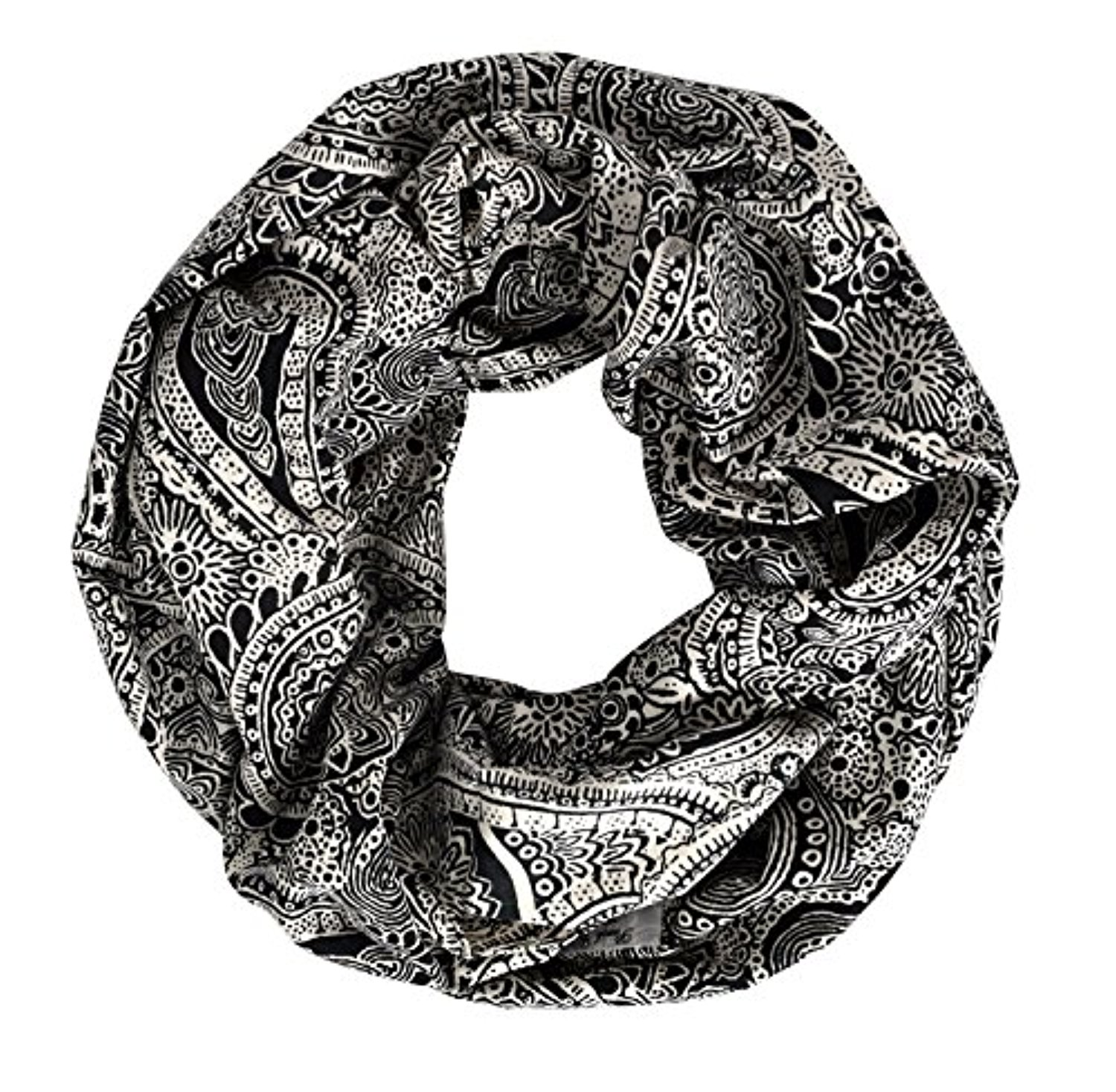 Peach Couture Summer Fashion Paisley Printed Infinity Loop Scarves (One Size, Black)