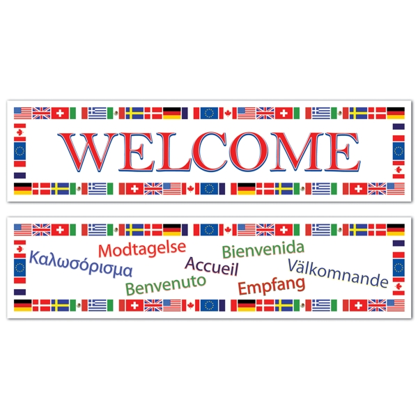 International Welcome Giant Party Banners (2 Ct)