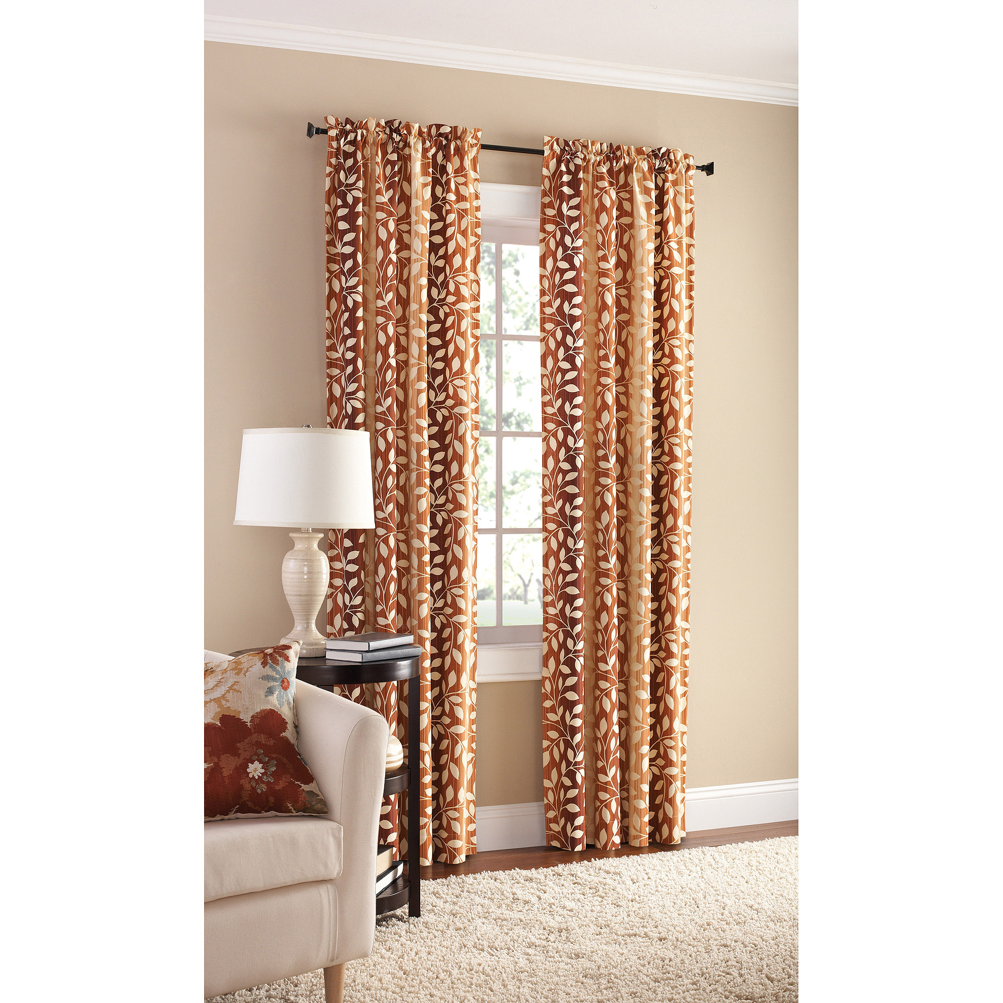Mainstays Milan Print Curtain Panel, Set of 2 by