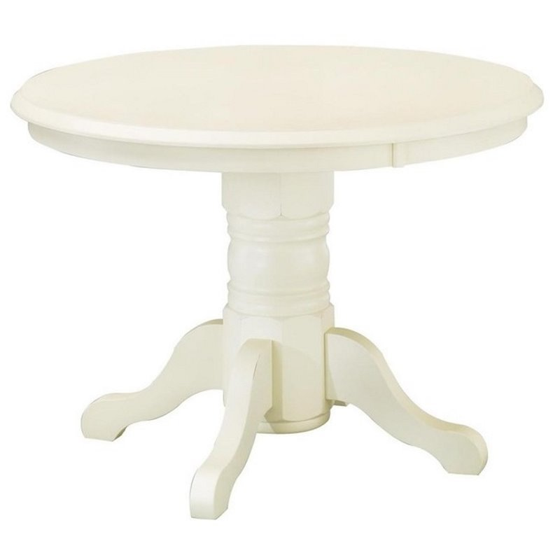 Bowery Hill Round Pedestal Dining Table in Antique White by Bowery Hill