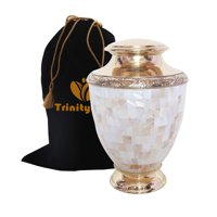 Artisan Mother of Pearl Brass Cremation Urn - Beautifully Handcrafted Adult Funeral Urn - Solid Brass Funeral Urn - Affordable Urn for Human Ashes with Free Velvet Bag