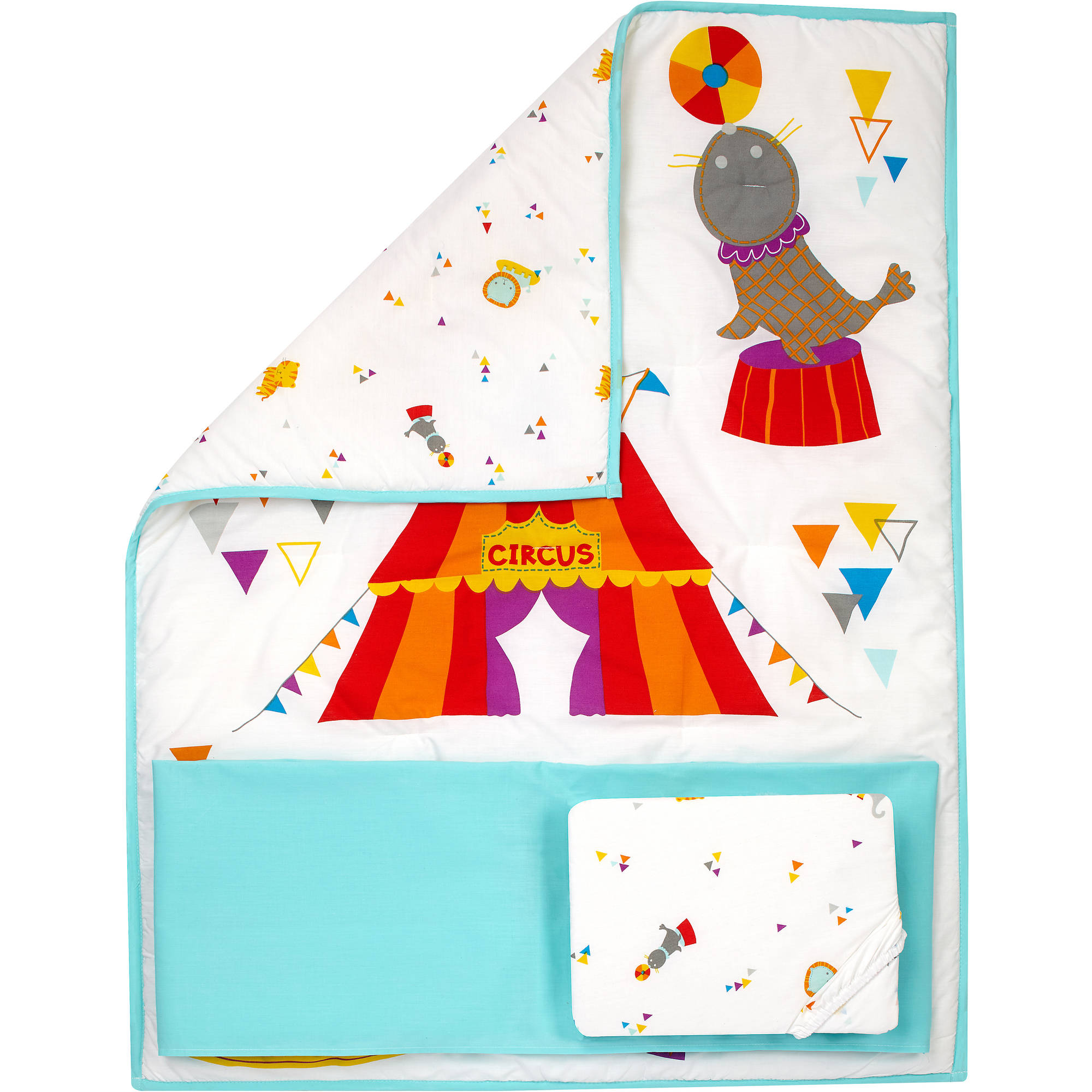 Little Bedding by Nojo Reversible Step Right Up/Circus Print 3-Piece Crib Bedding Set