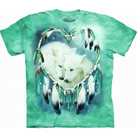 Blue 100% Cotton Wolf Heart Graphic Novelty T-Shirt