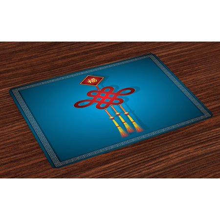 Chinese New Year Table Decoration Ideas (Chinese New Year Placemats Set of 4 Festival Decorations Theme Hanging Knot Illustration Swirl Border, Washable Fabric Place Mats for Dining Room Kitchen Table Decor,Blue Red and Yellow, by)