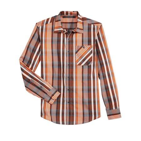 Regular Fit Plaid Long Sleeve Shirt Cinnamon Stick Orange
