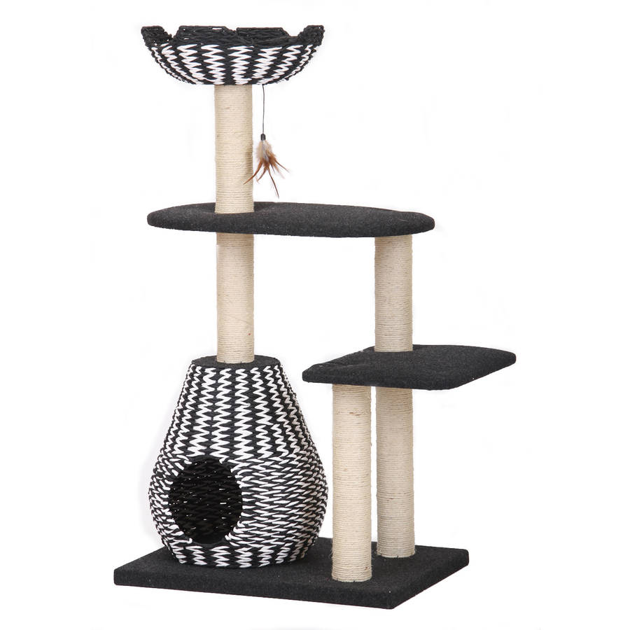 Petpals Group Ace Four Level Black/White Paper Rope Perch and Condo Lounger
