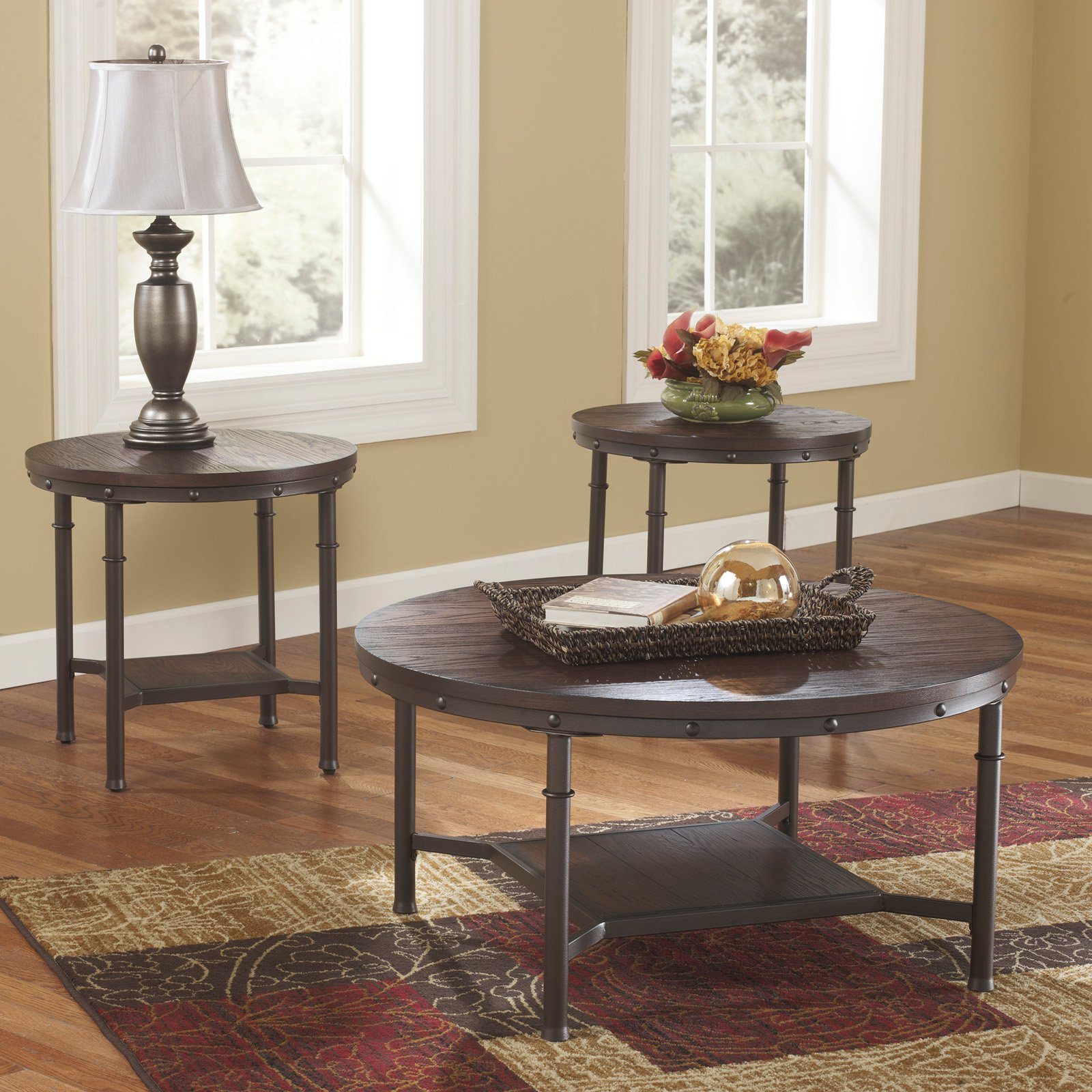 Signature Design By Ashley Sandling Brown Occasional Table   Set Of 3    Walmart.com