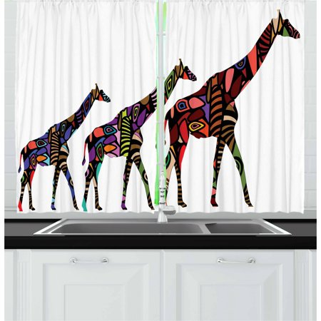 Zoo Curtains 2 Panels Set, African Giraffes in Ethnic Style Eastern Environment Retro Cultural Traditional Artwork, Window Drapes for Living Room Bedroom, 55W X 39L Inches, Multicolor, by Ambesonne