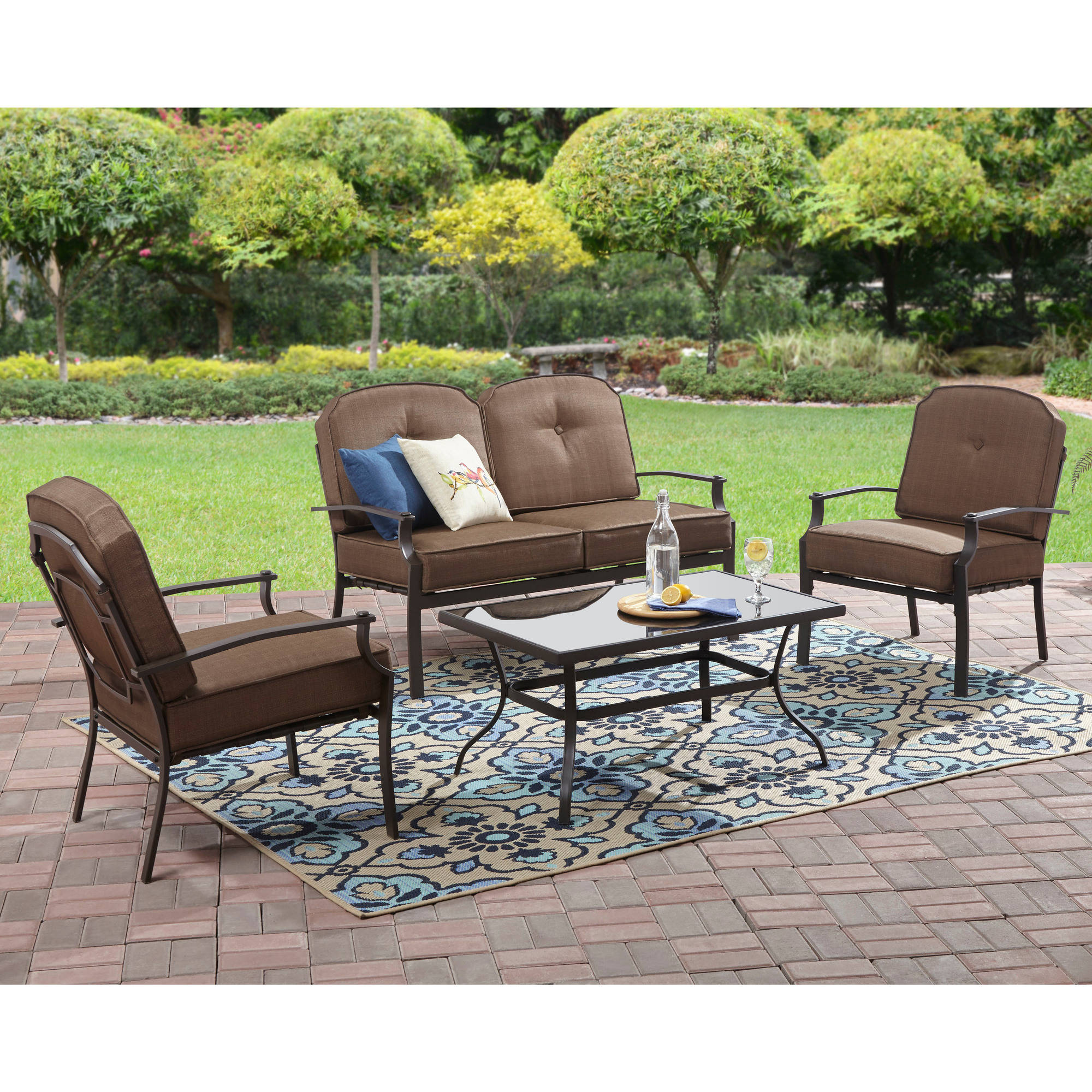Mainstays Wentworth 4 Piece Patio Conversation Set, Seats 4   Walmart.com