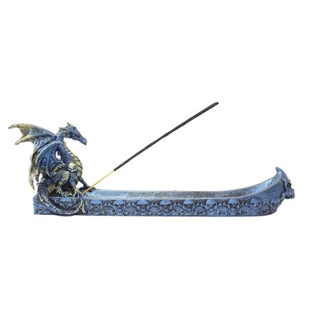 (Medieval Western Dragon Incense Holder /Burner Blue Classic Dark Legend Decor.)