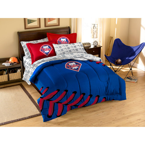 MLB Applique 3-Piece Bedding Comforter Set, Phillies