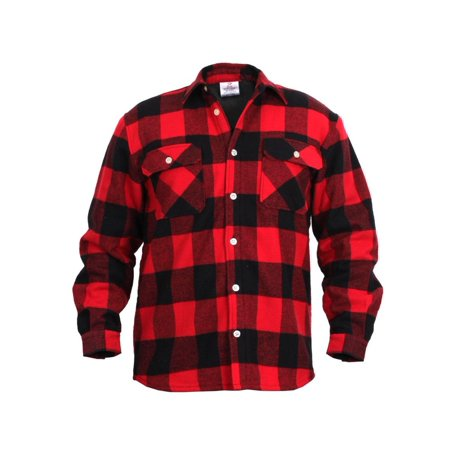 Plaid Fleece Lined Flannel Shirt, Red