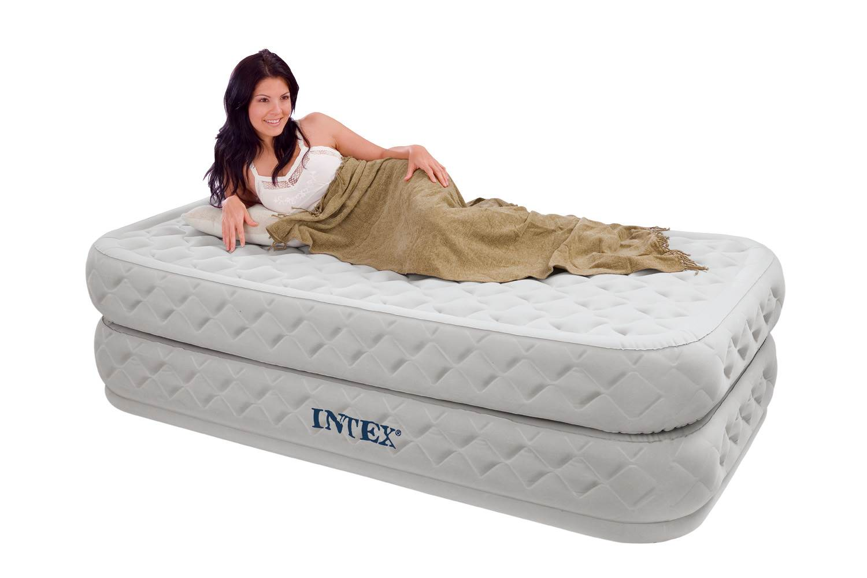 Intex Supreme Air-Flow Twin Bed Raised Air Mattress With ...