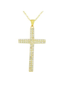 925 Sterling Silver Yellow Gold-Tone Cross White Pendant Necklace Chain