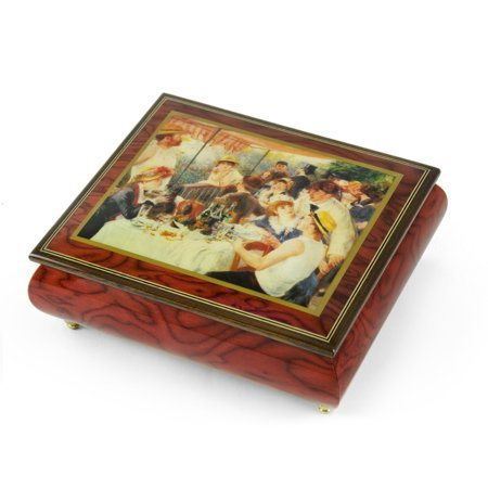 "Handcrafted Ercolano Music Box Featuring ""Luncheon of the Boating Party"" by Renoir, Pierre Auguste - I Only Have Eyes For You"