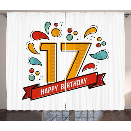 17th Birthday Decorations Curtains 2 Panels Set Digital Pop Art Print Seventeen Party With Floral
