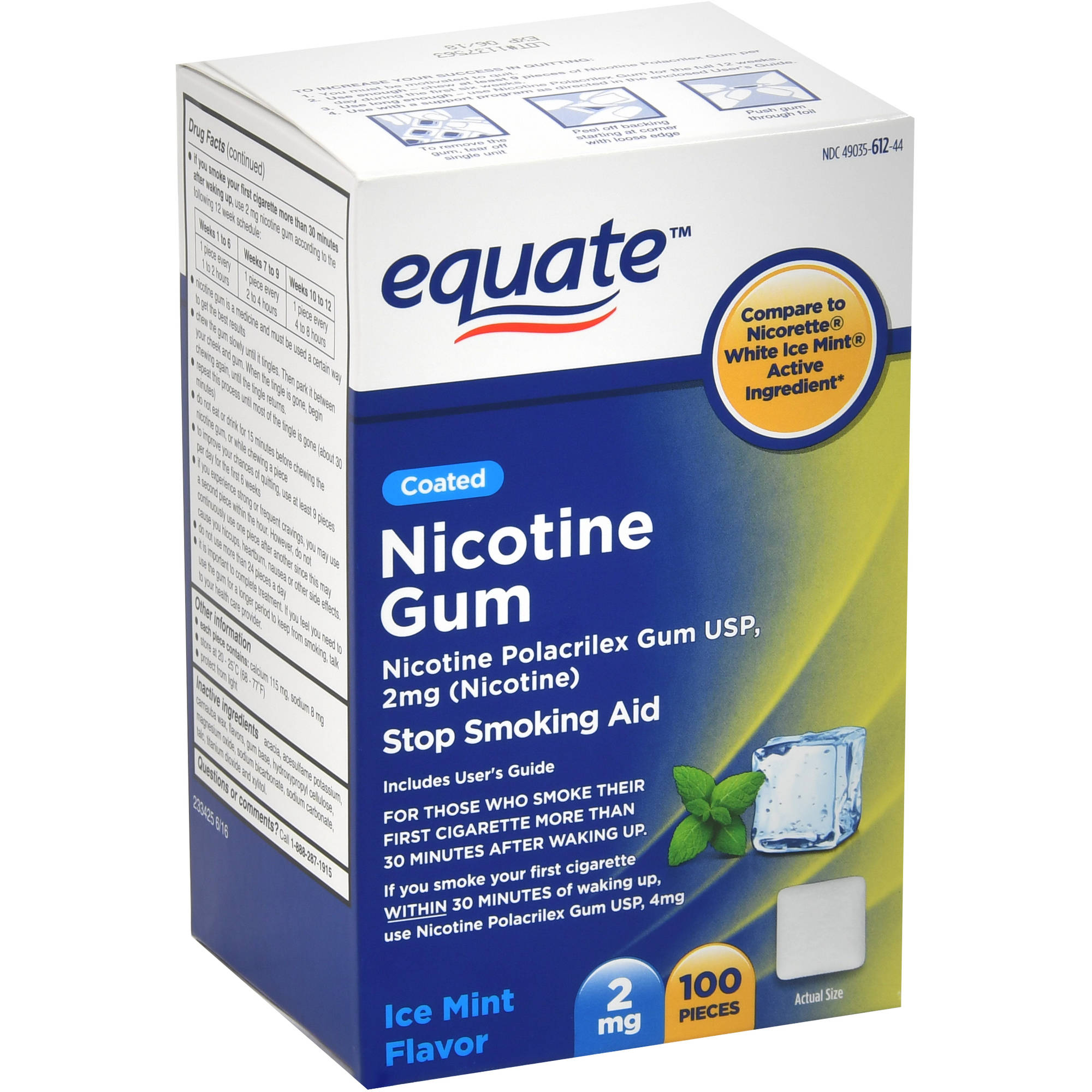 Equate Coated Nicotine Ice Mint Gum, 2 mg, 100 Ct