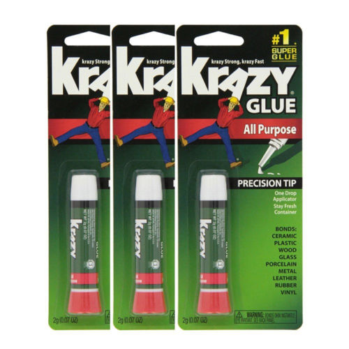 Krazy Glue Elmer's Original Crazy Super Glue All Purpose Instant Repair, 3 Piece