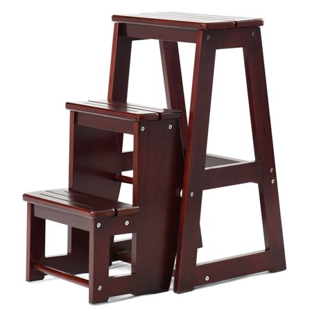 Fabulous Costway Wood Step Stool Folding 3 Tier Ladder Chair Bench Dailytribune Chair Design For Home Dailytribuneorg