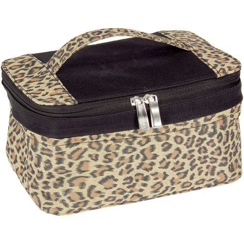Expandable Bag with Portable Mirror, Leopard Print