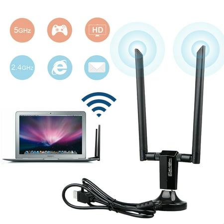 1200Mbps Dual Band 802.11ac 2.4/5GHz Wireless Desktop USB 3.0 WiFi Adapter w/ 5dBi Antennas Networks