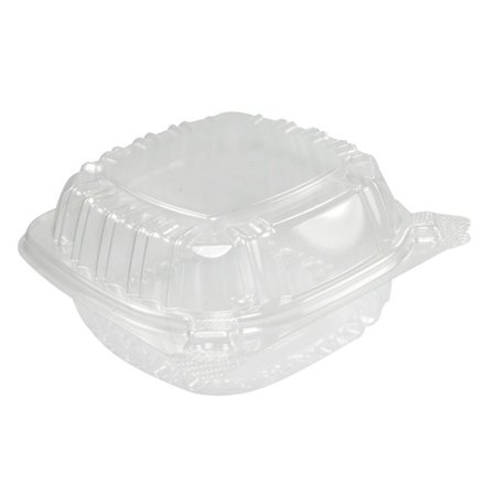 A World Of Deals Small Clear Plastic Hinged Food Container for Sandwich Salad Party Favor Cake Piece, 50