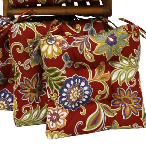 Blazing Needles Square Outdoor 16 in. Chair Cushions with Ties - Set of 2