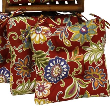 Blazing Needles 16 X 16 In Outdoor Chair Cushions With Ties Set